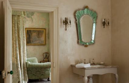 vintage mirror in bathroom