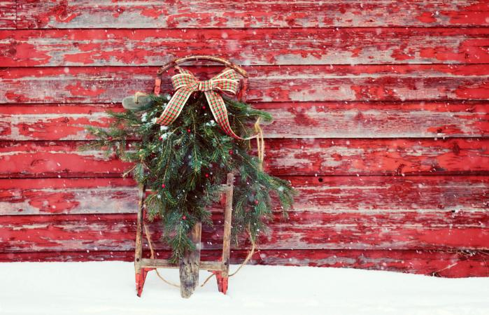 Antique sled decorated for Christmas