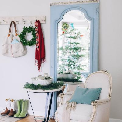 Holiday decor with vintage chair and mirror