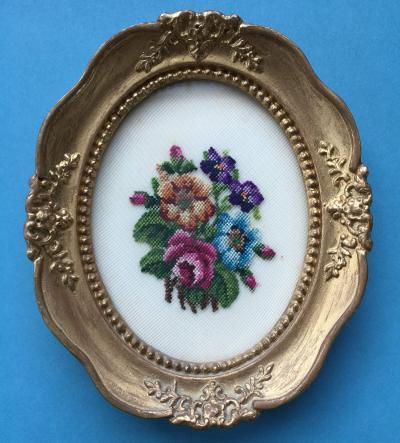 Oval framed vintage petit point cross stitch