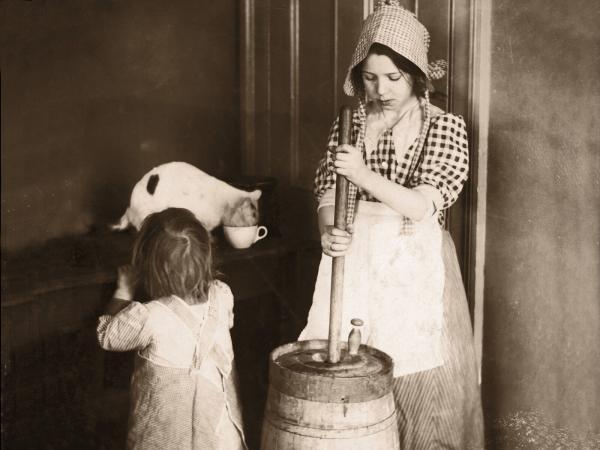 Woman Churning Butter
