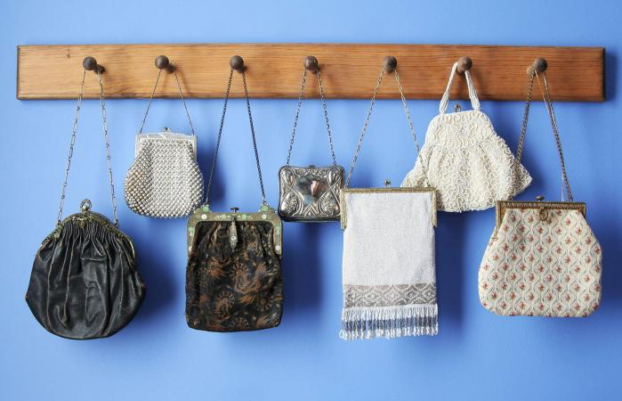 antique purses hanging