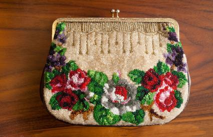 antique micro-beaded purse