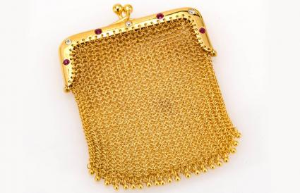 Yellow Gold Mesh Purse