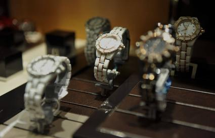 Bulova watches are seen on display