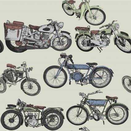 Drawing of group of vintage motorcycle