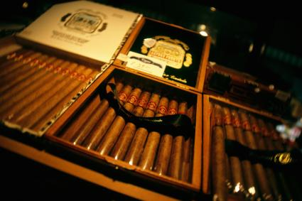 Antique cigar box with cigars
