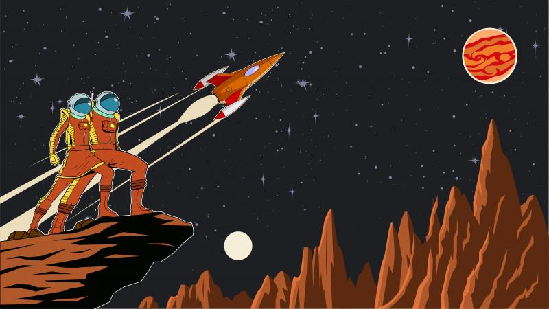 Retro astronaut couple on a planet with a rocket background