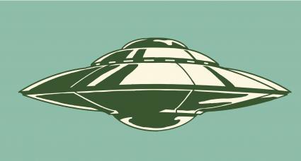 Spaceship illustration on teal background
