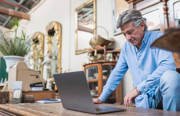 Man on an Online Auction