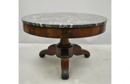 American Empire Round Marble Top Table