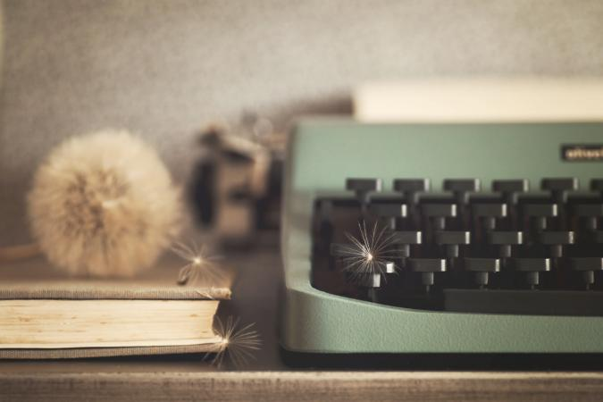 Olivetti typewriter with dandelion