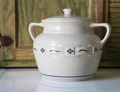 Bean pot style cookie jar.