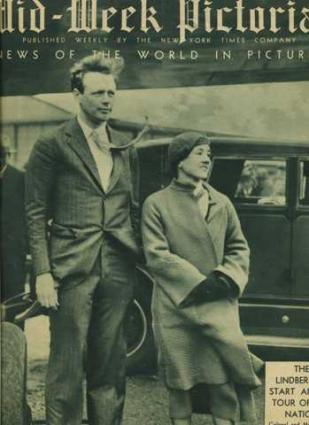 Charles Lindbergh and wife on <em>Mid-Week Pictorial</em> cover.