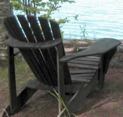 a rustic Adirondack chair