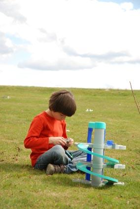 Boy with autism playing with toy