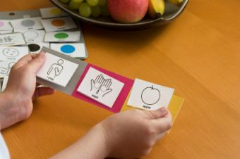 Child using picture cards
