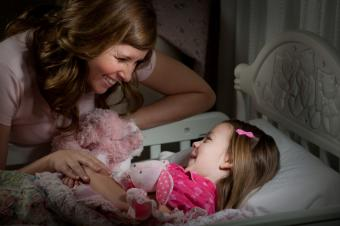 Mom and daughter at bedtime