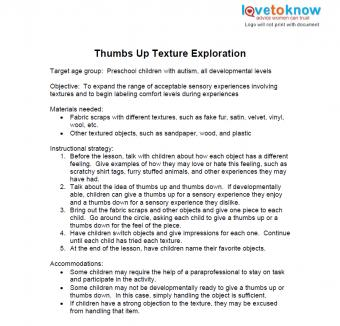 thumbs up lesson plan