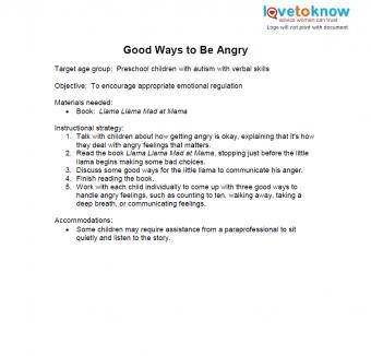 good ways to be angry lesson plan