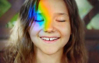 Rainbow on face