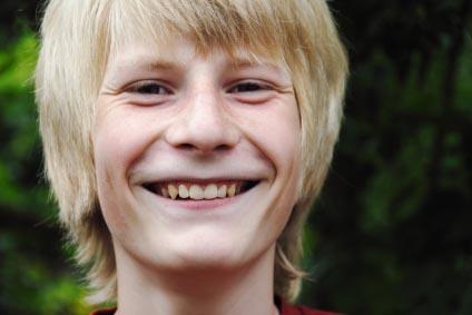 Autistic boy smiling