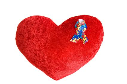 Heart pillow with autism ribbon