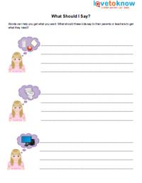 worksheets for children autism lovetoknow what should i say autism worksheet