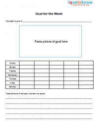 Goal for the week Autism worksheet
