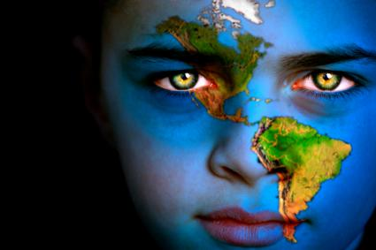 boy with world face paint