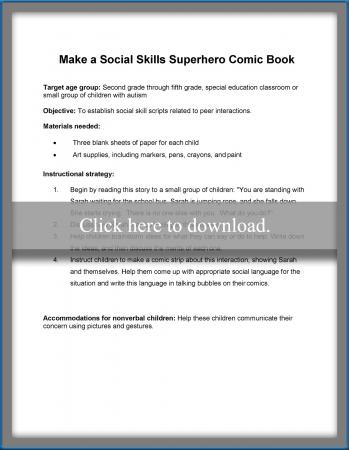 social skills superhero comic book