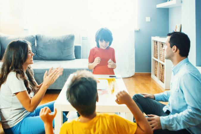 parents playing game with kids