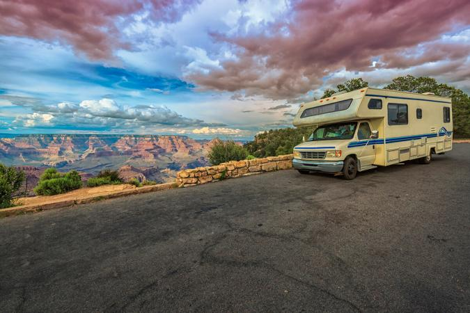 RV in the heights of the Grand Canyon