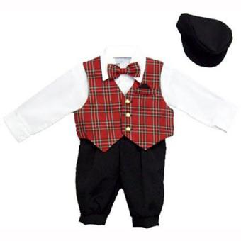 Just Darling Boys 5-pc Knickers Set with Red Plaid Vest, Dress Shirt, Bowtie and Newsboy Cap
