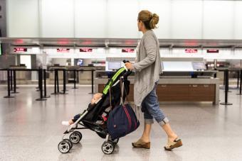 Woman pushing a stroller