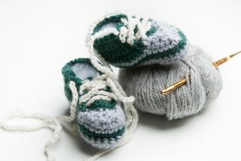 Hand crocheted wool baby shoes