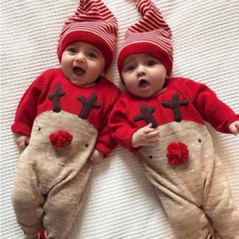 Mosunx® Newborn Kid Baby Deer Christmas Boys Girls Clothes Jumpsuit+Hat Set Outfits
