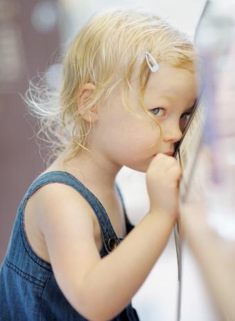 shy, withdrawn blond toddler