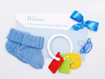 Card on a theme of the newborn in blue tones