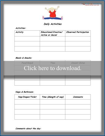 Simple Toddler Daily Activity Sheet