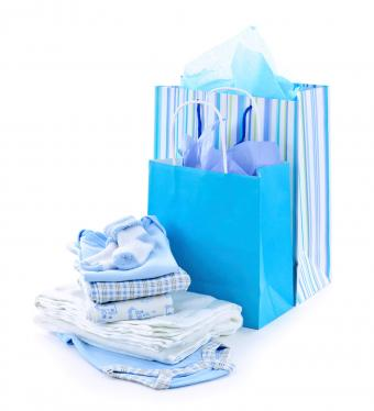 Collection of baby shower gifts in blue