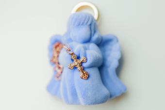 Golden cross for christening