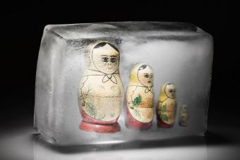 Family of Russian dolls frozen in ice