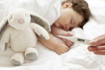 Feverish baby sleeping