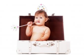 Infant girl wearing a pageant tiara