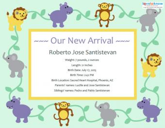 Jungle Birth Announcement Template
