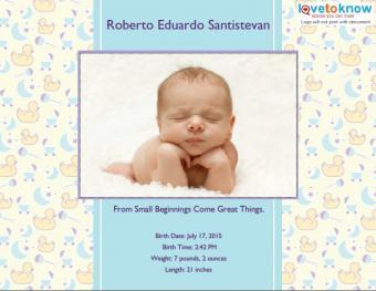 Photo Birth Announcement Template