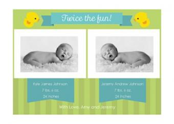Printable twins baby announcement template