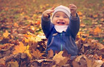 boy sitting in autumn leaves