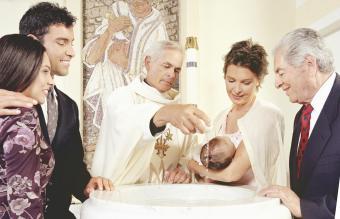 Baby boy being baptized
